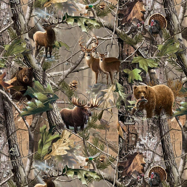 Realtree, Animals in the Forest Fabric - ineedfabric.com