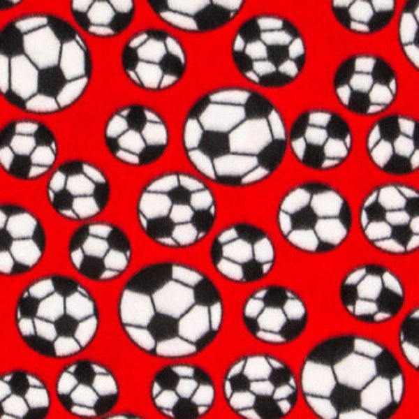 Red Soccer Balls Fleece Fabric 64in - Red - ineedfabric.com