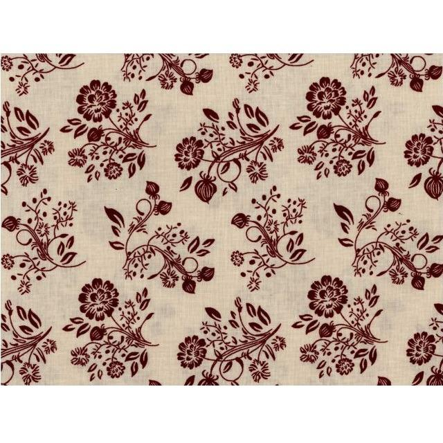 Remember When Burgundy Floral Fabric - Cream - ineedfabric.com