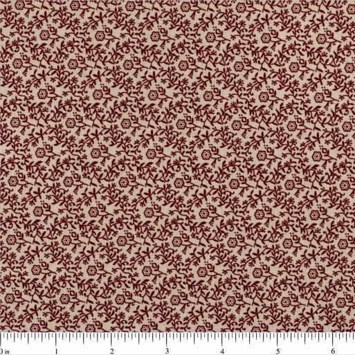 Remember When Little Flowers Fabric - Cream/Burgundy - ineedfabric.com