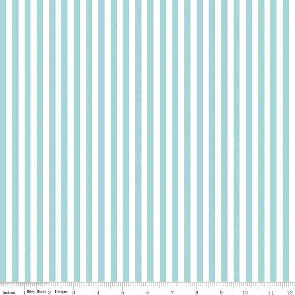 "Riley Blake, 1/4"" Striped Fabric - Aqua - ineedfabric.com"