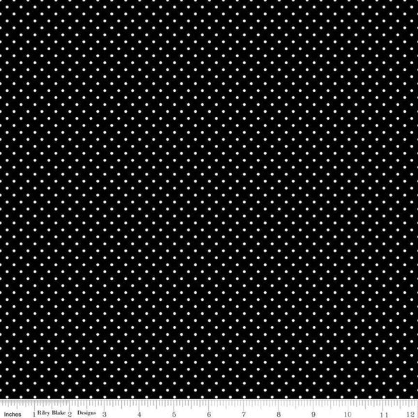 Riley Blake, Swiss Dot Fabric - Black - ineedfabric.com