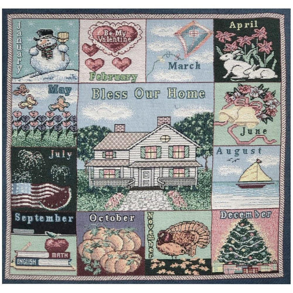 Seasons Calendar Tapestry Fabric Panel - ineedfabric.com