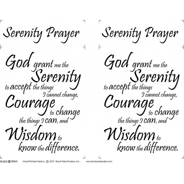 Serenity Prayer Fabric Panel - 18in x 20in - ineedfabric.com
