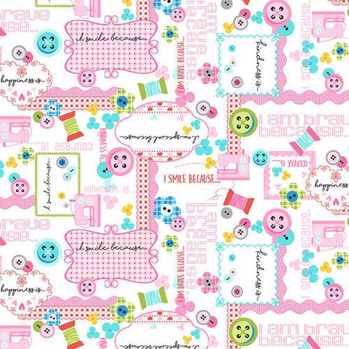 Sew Kind Sewing Fabric - Pink - ineedfabric.com