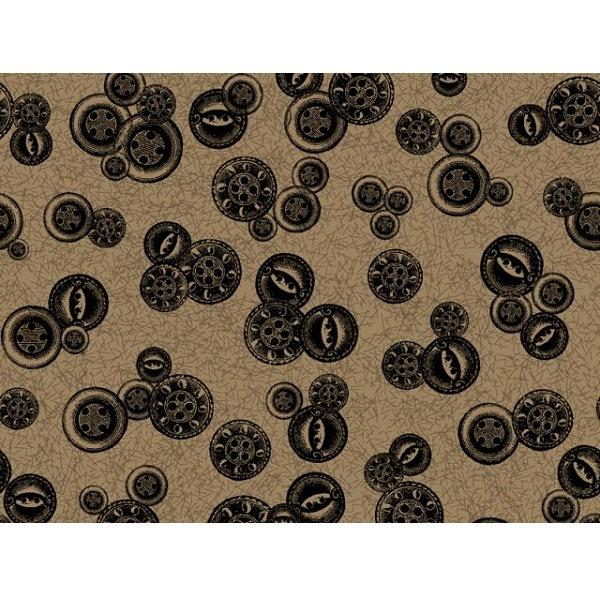Sew Vintage - Black on Brown Buttons Fabric - ineedfabric.com