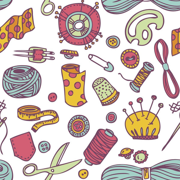 Sewing Icons Doodles Fabric - ineedfabric.com