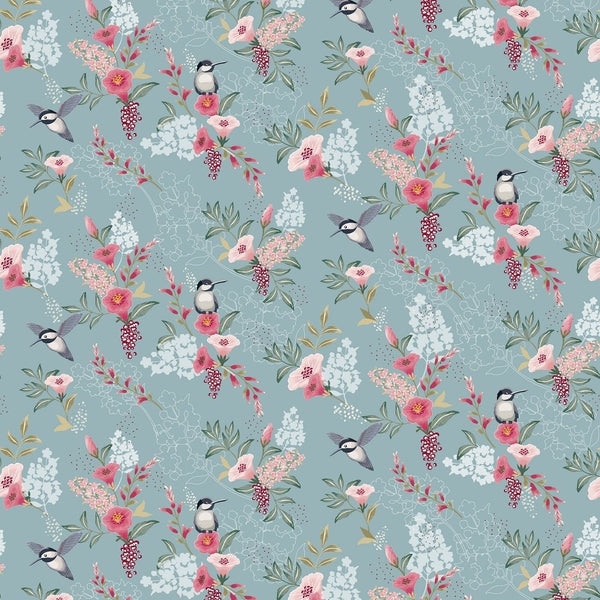 Spring Flowers & Birds Fabric - Light Blue - ineedfabric.com