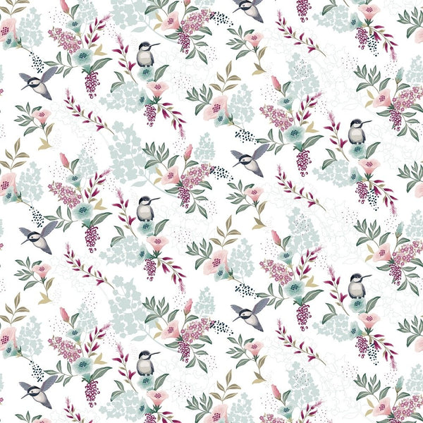 Spring Flowers & Birds Fabric - White - ineedfabric.com