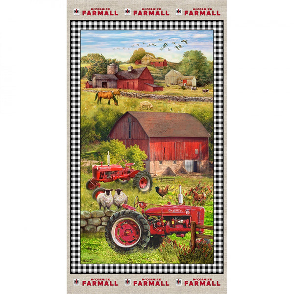 Sweet Farmhouse Tractor Cotton Fabric Panel - 24in - ineedfabric.com