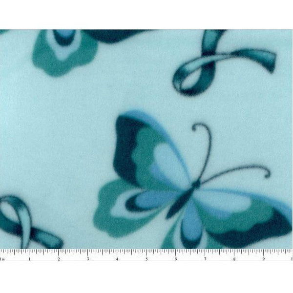 Teal Ribbon and Butterfly Fleece Fabric - ineedfabric.com