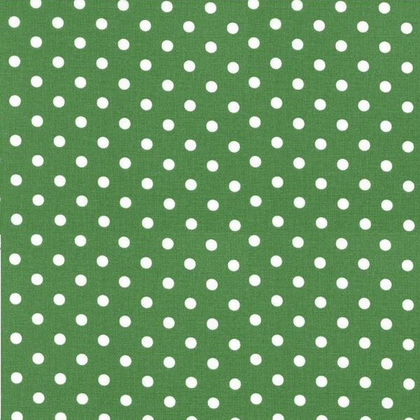 Treasures from the Attic, Medium Polka Dot Fabric - Green - ineedfabric.com