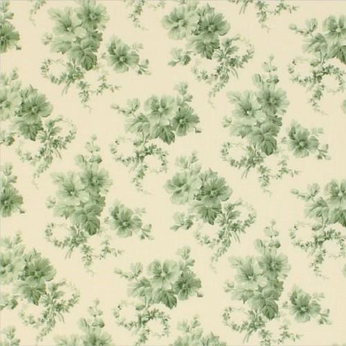 Vintage Floral Fabric - Green - ineedfabric.com