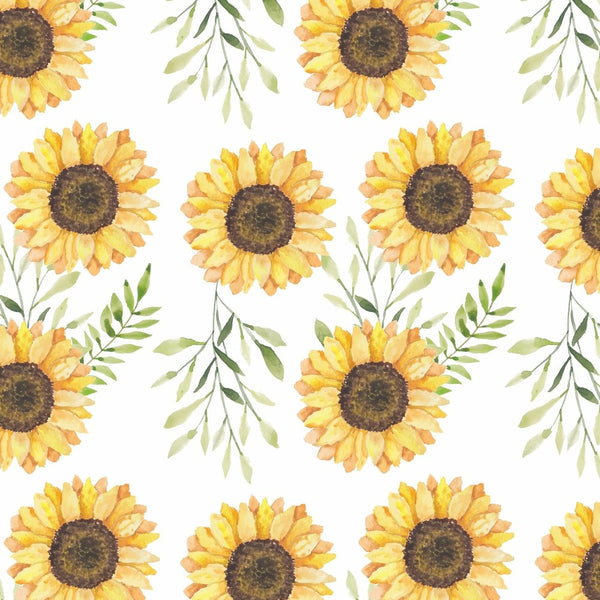 Watercolor Sunflower Fabric - ineedfabric.com