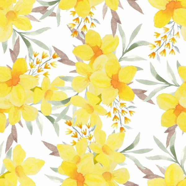 Watercolor Tropical Alamanda Fabric - ineedfabric.com