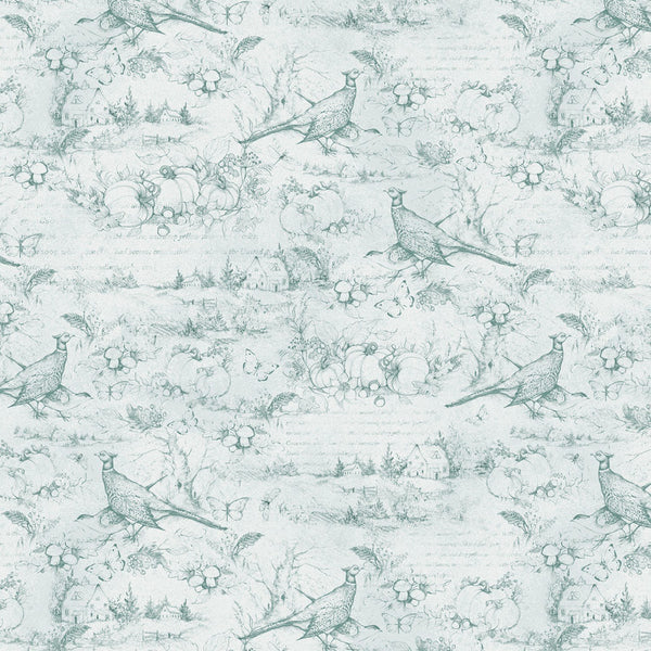 Wilmington Prints, Seeds of Gratitude Toile Pattern Fabric - Light Blue - ineedfabric.com
