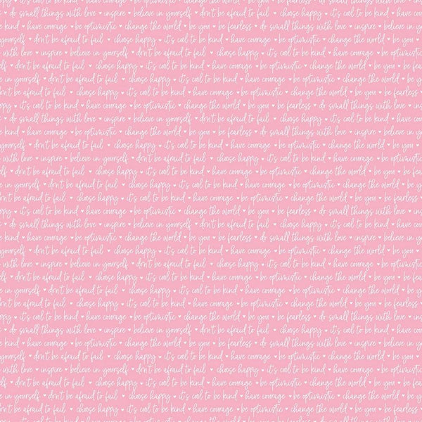 Winifred Rose Text Fabric - Pink - ineedfabric.com