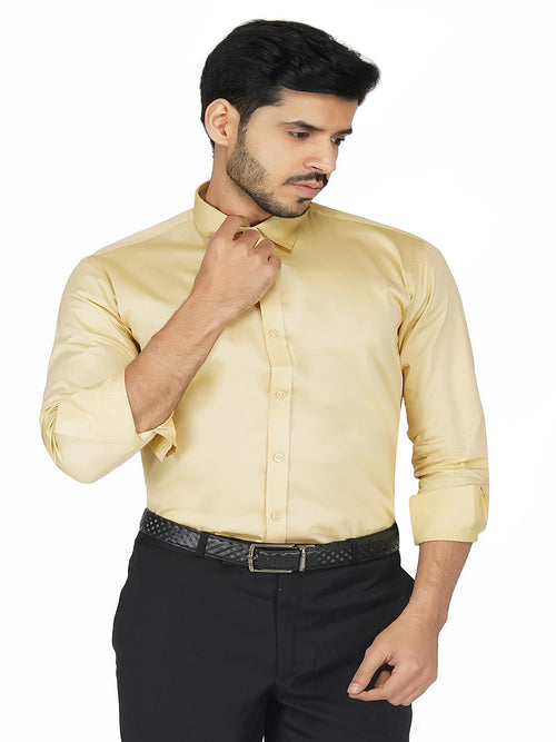 Formal Light Yellow Cotton Shirt Code-1225