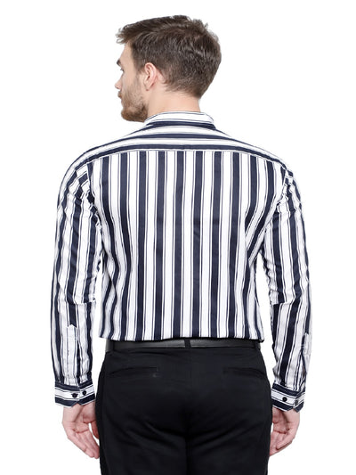 Men's Black Stripe Formal Cotton Shirt Code-1053 - Tooley Shirts