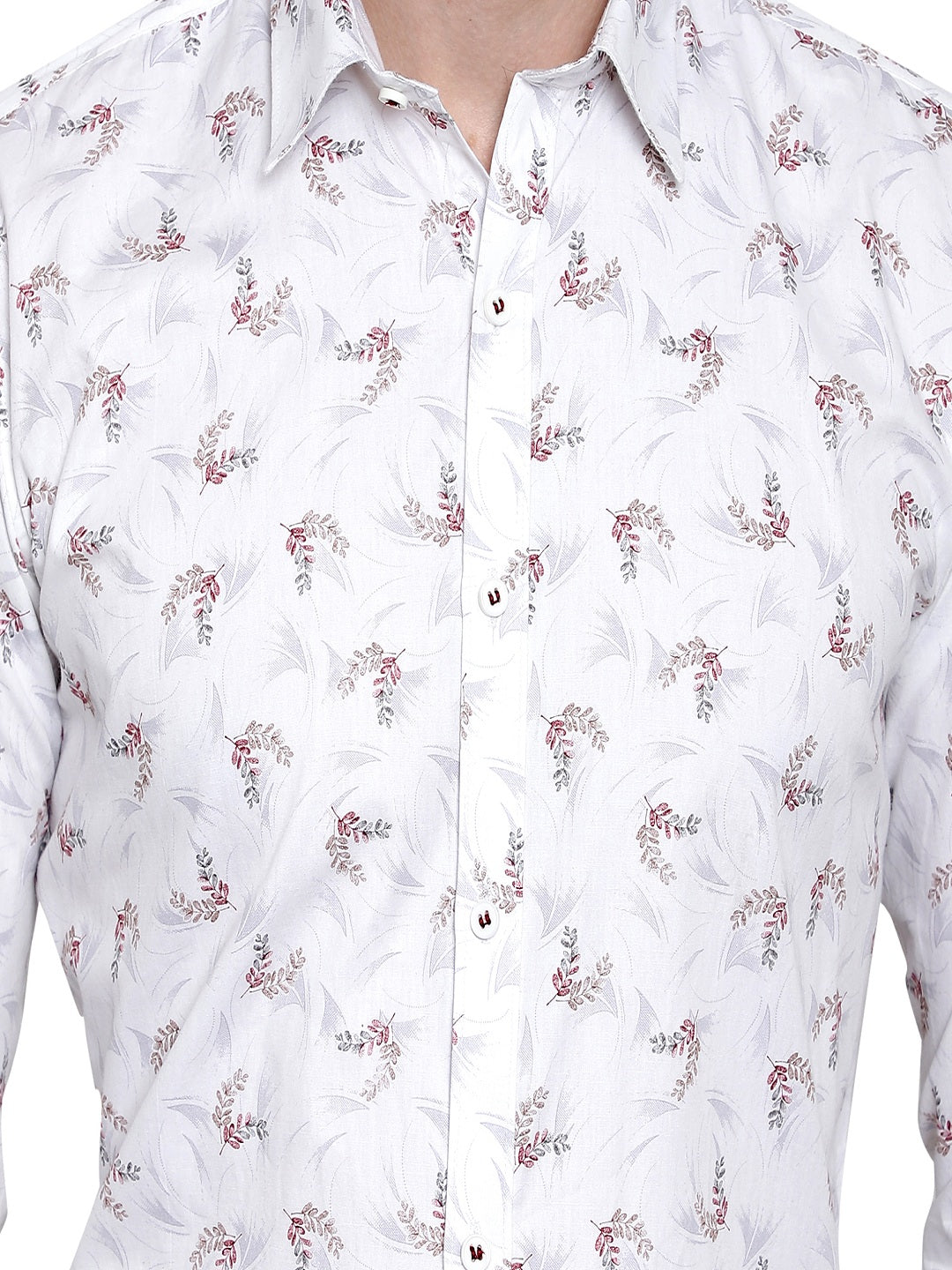 Men's Premium Cotton White Printed Shirt Code-1081 - Tooley Shirts