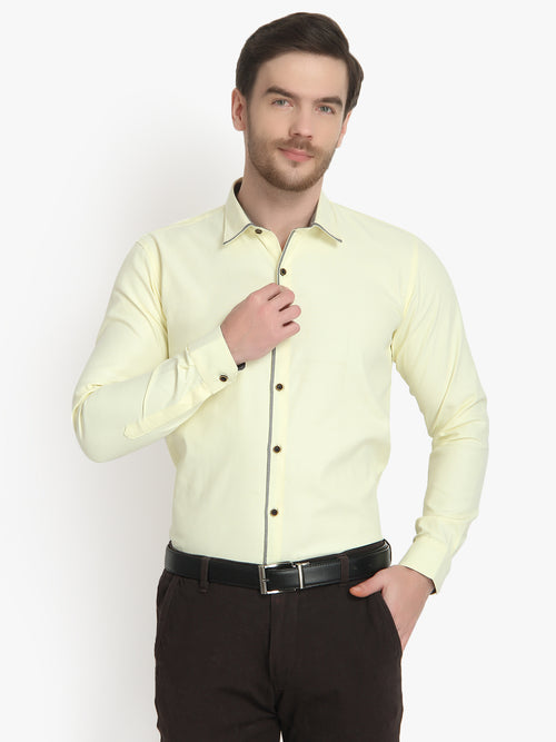 Mens Formal Light Yellow Cotton Shirt Code-1095 - Tooley Shirts
