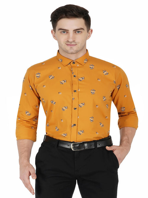 Borak-Floral Print Shirt-Orange Code-1201 - Tooley Shirts