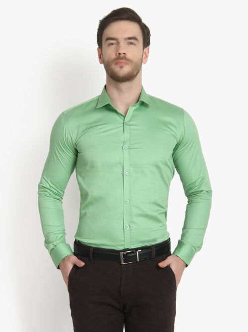 Men's Formal Light Green Cotton Shirt Code-1034 - Tooley Shirts