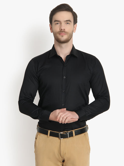 Men's Formal Black Cotton Shirt Code-1031 - Tooley Shirts