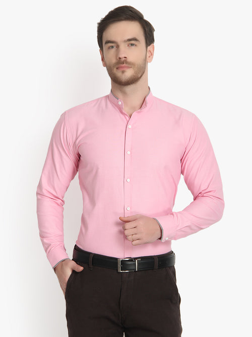 Men's Formal Baby Pink Ban Collar Cotton Shirt Code-1004 - Tooley Shirts