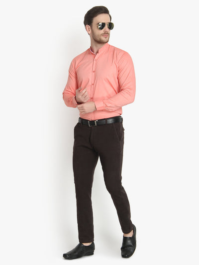 Formal Ban Collar Peach Cotton Shirt Code-1017 - Tooley Shirts
