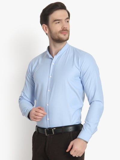Men's Formal Light blue ban collar Cotton Shirt Code-1011 - Tooley Shirts