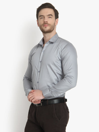 Men's Formal Grey Cotton Shirt Code-1033 - Tooley Shirts