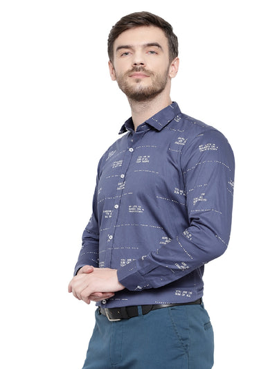 Navy Blue Italian Print Shirt Code-1055 - Tooley Shirts