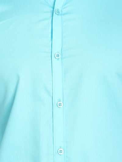 Mens  Formal Turquoise Blue Cotton Shirt- Code-1021 - Tooley Shirts