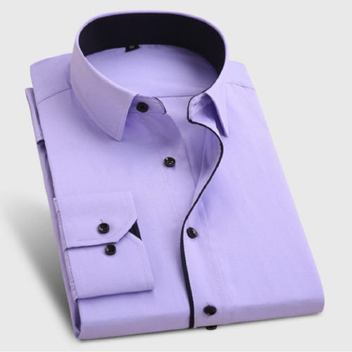 Men's Formal Light Purple Cotton Shirt With Black Button Code-1014 - Tooley Shirts