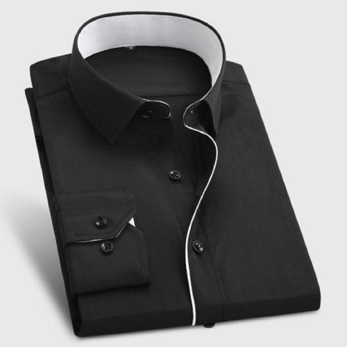 Mens's Designer Formal Shirt With Black Button And White Lining Code-1001 - Tooley Shirts