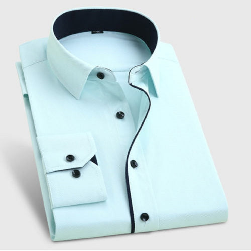 Men's Formal Light Green Cotton Shirt With Black Button Code-1013 - Tooley Shirts