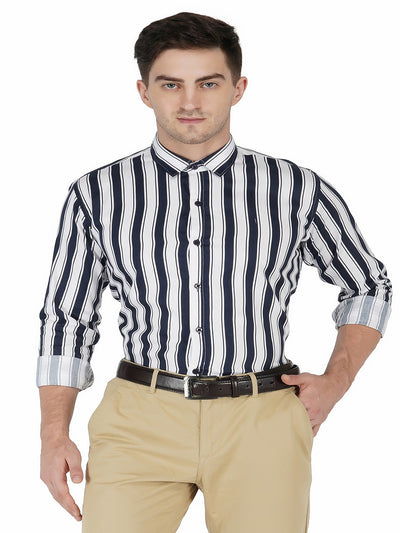 Men's Blue Stripe Formal Cotton Shirt Code-1202 - Tooley Shirts