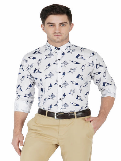 White Printed Shirt Code-1130 - Tooley Shirts