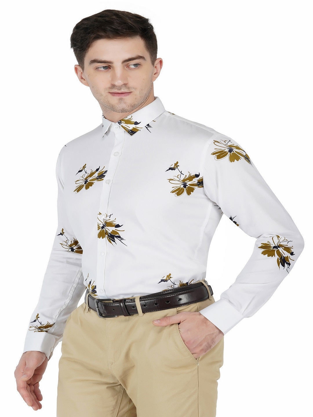 White Printed Shirt Code-1133 - Tooley Shirts