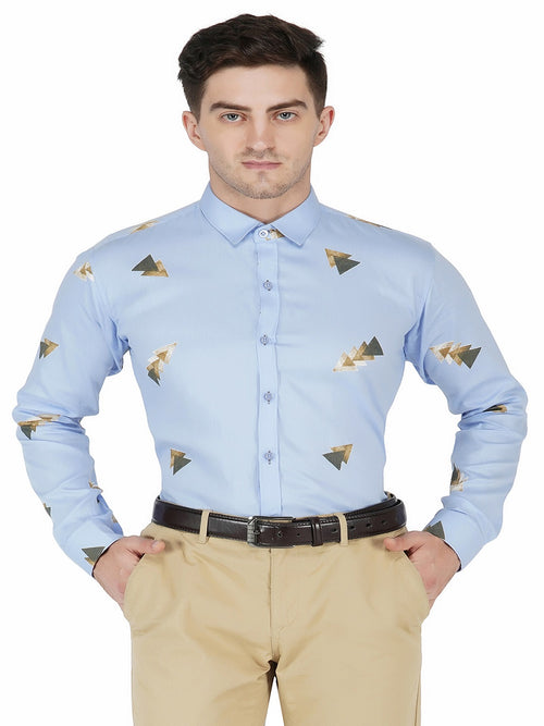 Sky Blue Printed Code-1136 - Tooley Shirts