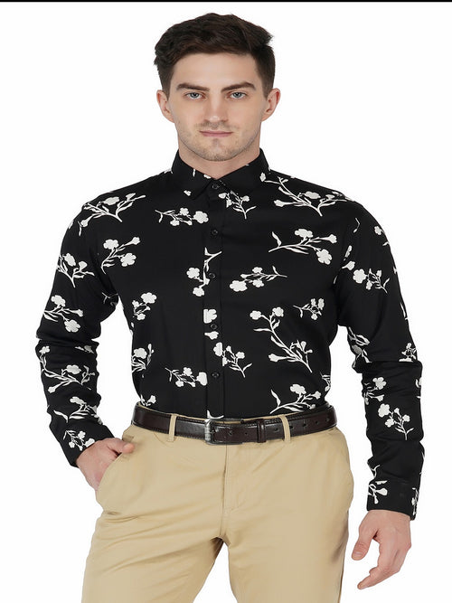 Black Printed Shirt Code-1120 - Tooley Shirts