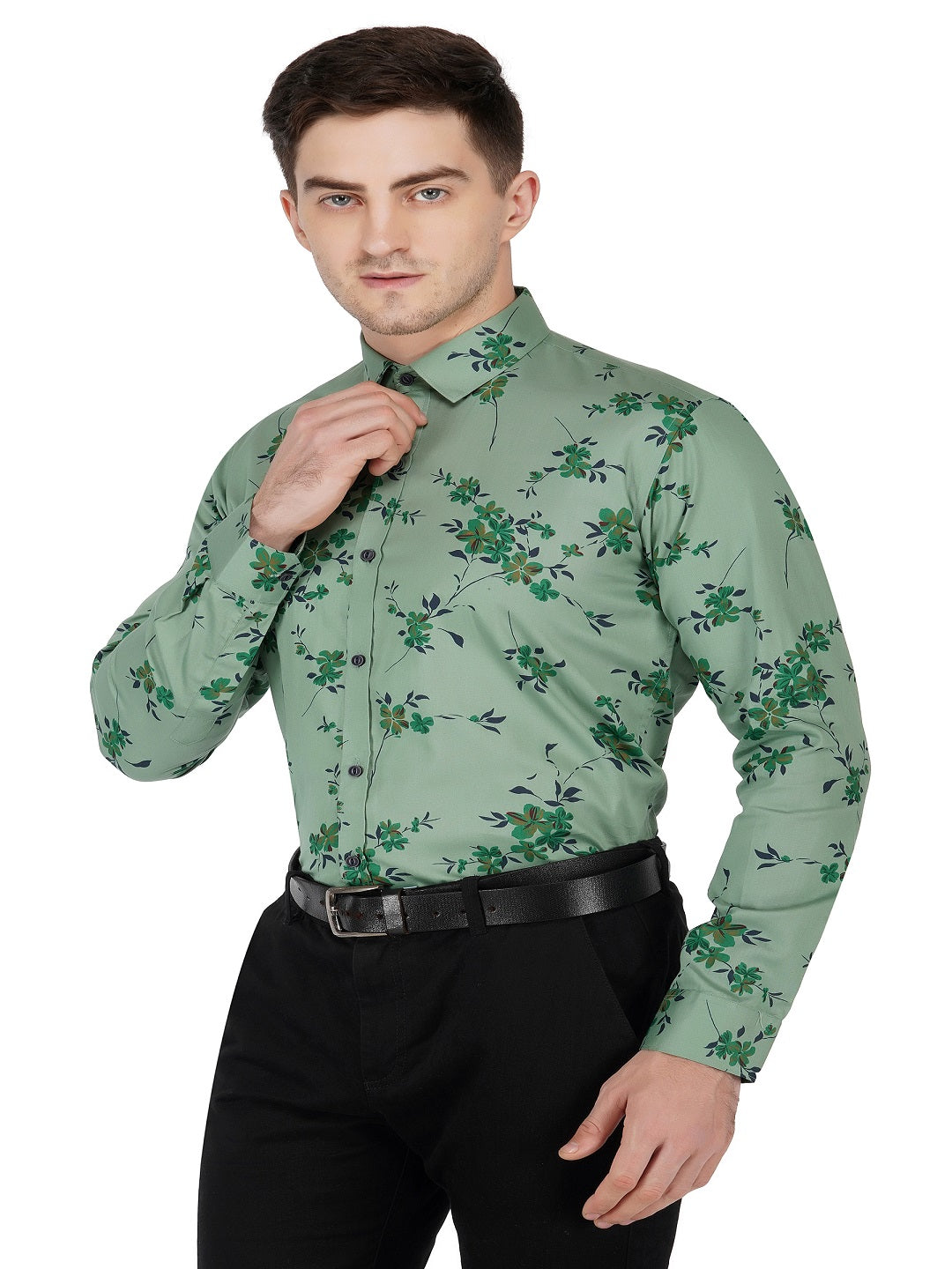 Indian Dark Pista Premium Cotton  Printed Shirt Code-1104 - Tooley Shirts