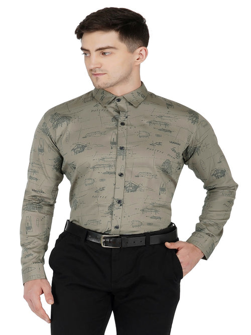 Grey Printed Code-1105 - Tooley Shirts