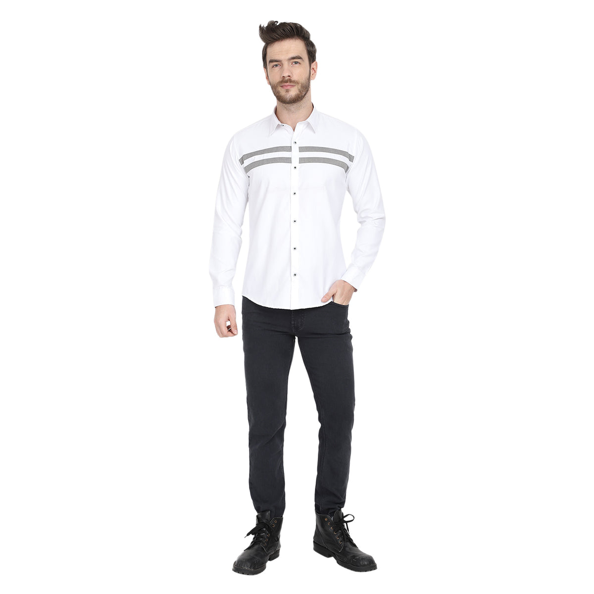 Designer With Grey Line Party Casual White Smart Shirt Code-1006 - Tooley Shirts