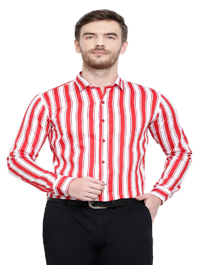 Red & White Lining Shirts Code-1068 - Tooley Shirts