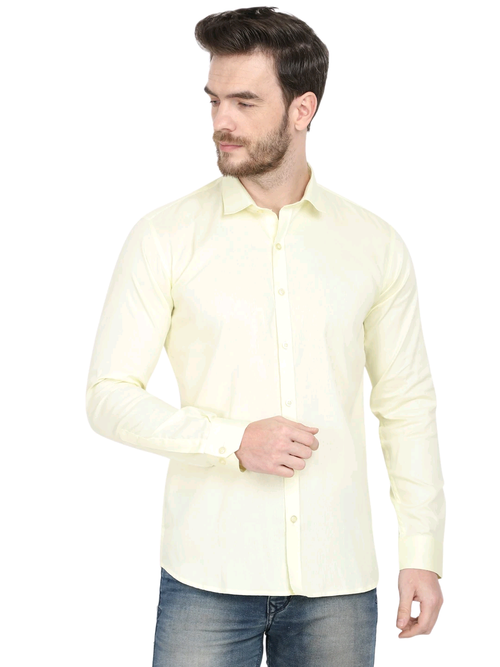 Men's Formal Light Yellow Cotton Shirt Code-1037 - Tooley Shirts