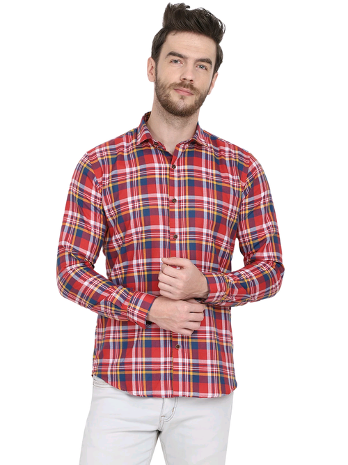 Men's Casual Check Cotton Shirt-Code-1029 - Tooley Shirts