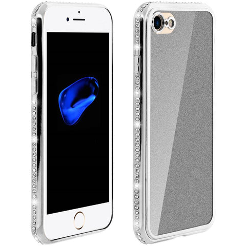 Cover iPhone 7 Plus / 8 Plus Paillette Contorno Strass Glitter Effect  Argento
