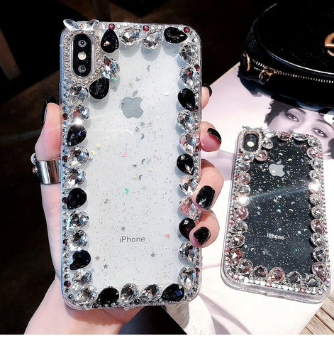 Lusso Bling diamante cristallo Glitter Gel Custodia Cover per iPhone Xs Max  XR 6S 7 8+